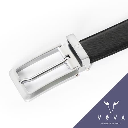 VOVA 時尚流線型黑藍雙面穿針式皮帶(亮銀色) VA001-007-NK
