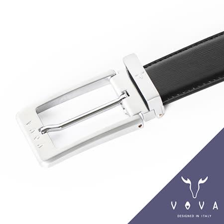VOVA 流線型斜格皮紋雙面穿針式皮帶(亮銀色) VA001-008-NK