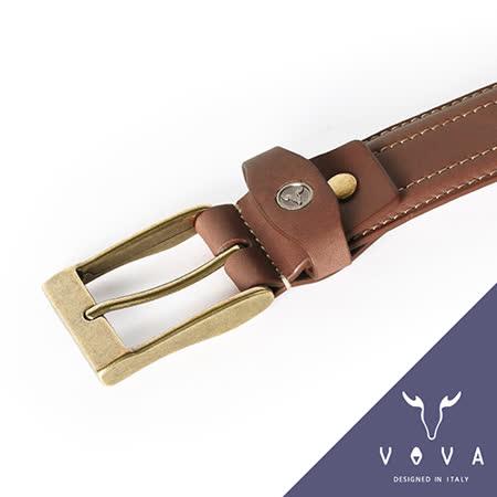 VOVA 玩舊復刻雙車線休閒式皮帶(咖啡色) VA001-012-BR