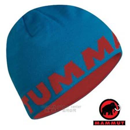 【瑞士 MAMMUT 長毛象】新款 大Logo Beanie 羊毛雙層針織保暖帽(可雙面載) 遮耳.質輕.柔軟.抗風.透氣.毛帽.登山滑雪_藍/紅 04890-5750