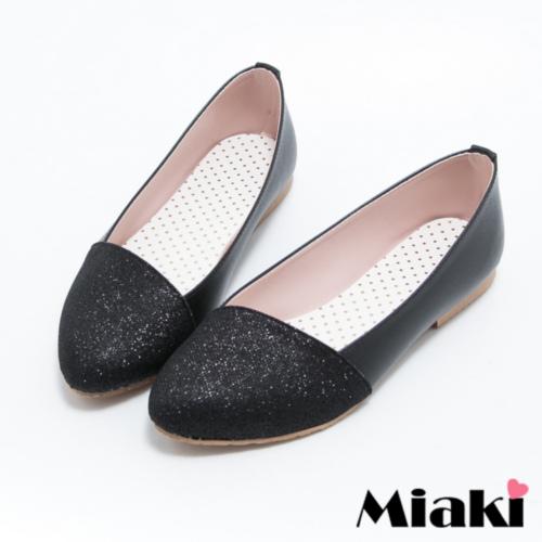 ~Miaki~MIT 娃娃鞋金屬拼色平底休閒包鞋 ^(黑色^)