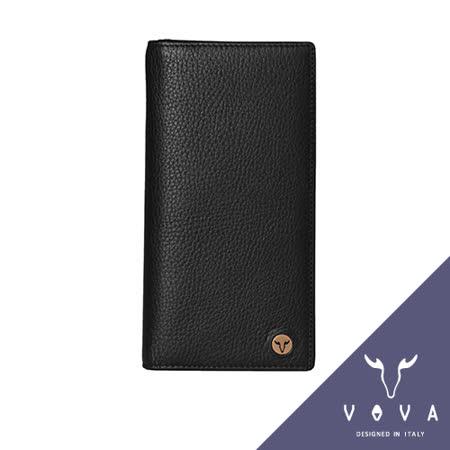 VOVA 當代系列12卡透明窗拉鍊零錢袋厚型荔枝紋長夾(黑色)VA102W005BK