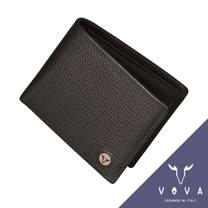 VOVA 當代系列4卡零錢袋荔枝紋短夾(咖啡色)VA102W007BR