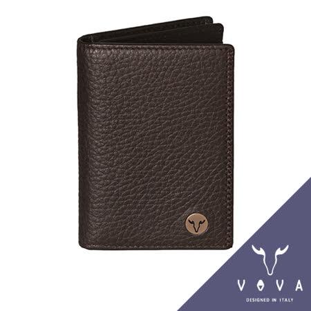 VOVA 當代系列3卡透明窗荔枝紋名片夾(咖啡色)VA102W010BR