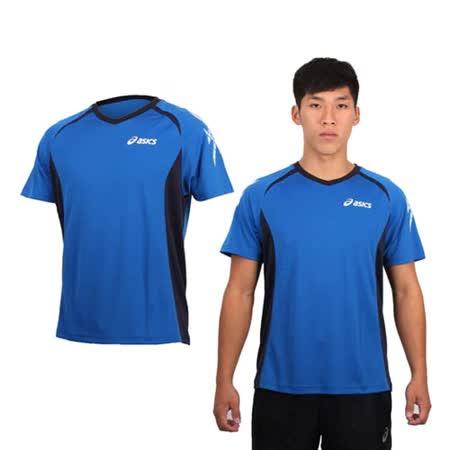 (男) ASICS 排汗短袖T恤- 路跑 慢跑 排球 亞瑟士 寶藍白