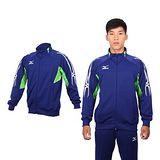 (男) MIZUNO 運動外套-美津濃 針織外套 路跑 慢跑  藍綠白