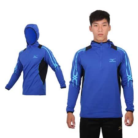 (男) MIZUNO 長袖連帽T恤 - 路跑 慢跑 刷毛 保暖 美津濃 藍水藍黑