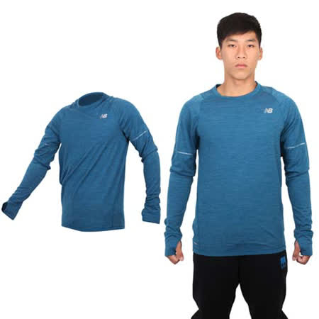 (男) NEWBALANCE 長袖T恤 - 長T NB 路跑 慢跑 深藍