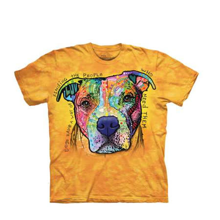 【摩達客】(預購) 美國進口The Mountain 彩繪憂鬱比特犬 純棉環保短袖T恤