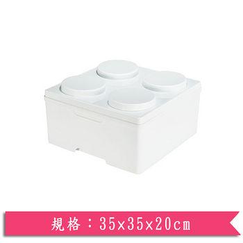 DOLEDO 積木整理箱淺四圓-白(14公升)