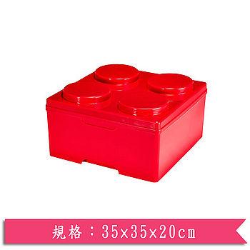 DOLEDO 積木整理箱淺四圓-紅(14公升)