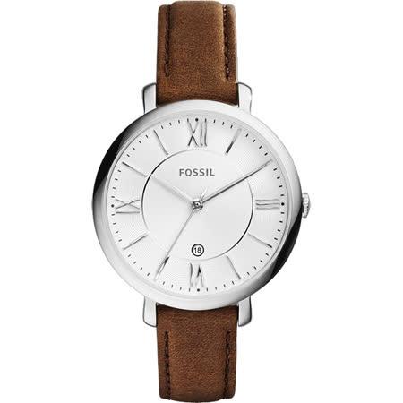 FOSSIL Jacqueline 羅馬風采時尚腕錶-銀x咖啡/36mm ES3708