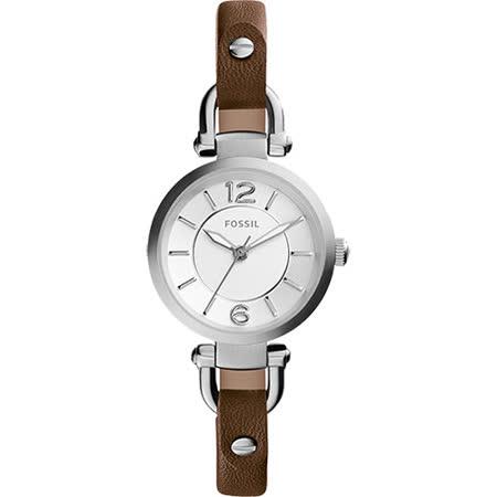 FOSSIL Georgia Artisan 仕女腕錶-銀x咖啡/26mm ES3861