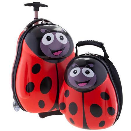 【英國cuties and pals】16吋蛋型輕硬殼兒童專屬旅行箱+13吋背包組(瓢蟲)