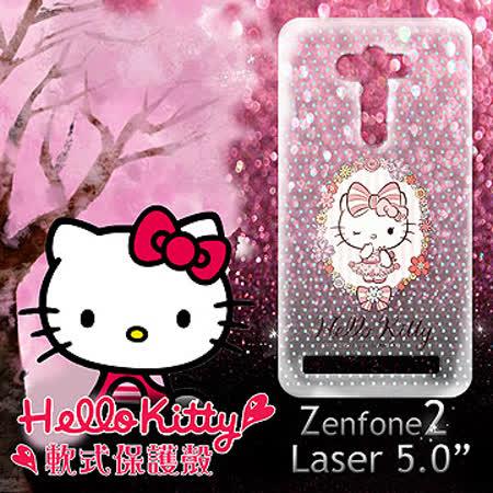 三麗鷗授權正版 Hello Kitty 凱蒂貓  ASUS Zenfone2 Laser 5吋 ZE500KL 透明軟式保護套 手機殼 (花邊Kitty)