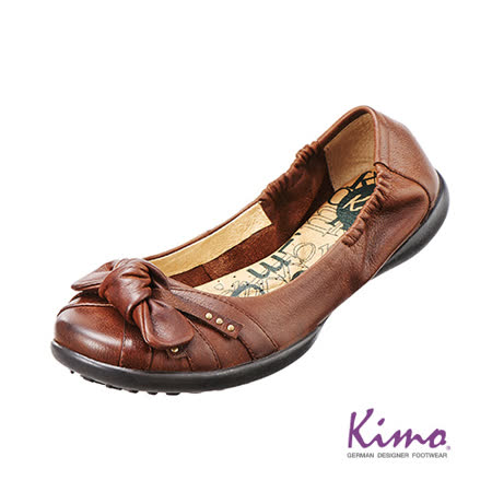 【Kimo德國品牌手工氣墊鞋】蝴蝶結真皮芭蕾娃娃鞋_風情棕(K13WF006268)