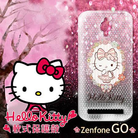 三麗鷗授權正版 Hello Kitty 凱蒂貓 ASUS ZenFone Go ZC500TG 透明軟式保護套 手機殼 (花邊Kitty)