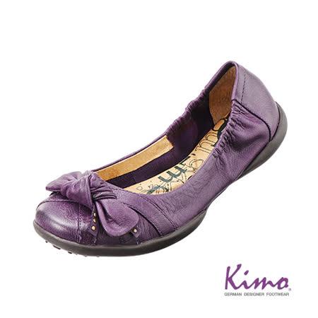 【Kimo德國品牌手工氣墊鞋】蝴蝶結真皮芭蕾娃娃鞋_迷情紫(K13WF006269)