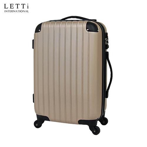 LETTi 『經典簡約』24吋時尚菱格防刮大 遠 百 三 多旅行箱-摩卡金