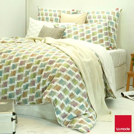 La mode寢飾色彩空間環保印染精梳棉兩用被床包組(加大)