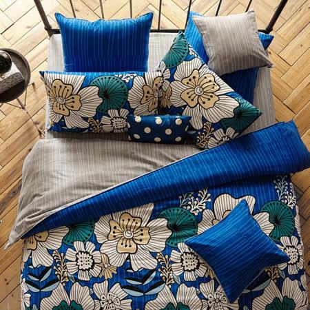 La mode寢飾漫步花海暖呼呼磨毛精梳棉兩用被床包組(雙人)
