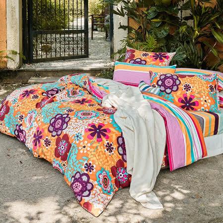 La mode寢飾戀花物語暖呼呼磨毛精梳棉兩用被床包組(雙人)