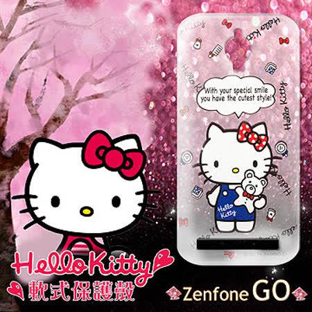 三麗鷗授權正版 Hello Kitty 凱蒂貓 ASUS ZenFone Go ZC500TG 透明軟式保護套 手機殼 (Kitty公仔)