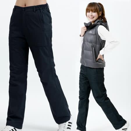 【遊遍天下】女款顯瘦直筒防風防潑水禦寒刷毛長褲/ 防風雪褲P106 深藍