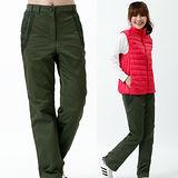 【遊遍天下】女款顯瘦直筒配色防風防潑水透氣禦寒刷毛保暖褲/ 防風雪褲P105墨綠
