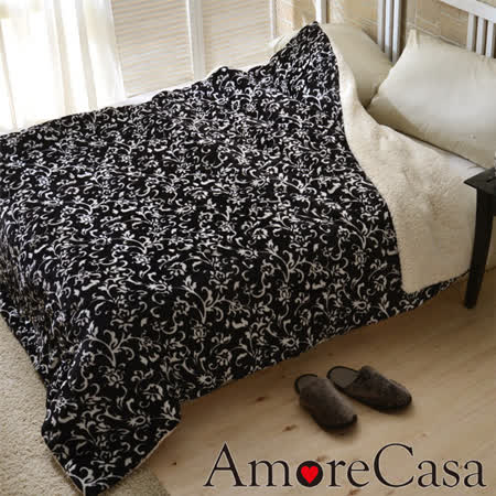 【AmoreCasa】宮廷花藝 頂級法蘭絨舖棉羊羔絨保暖毯被