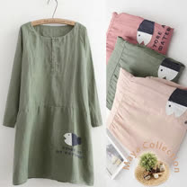 【Maya Collection】秋季棉麻貼布繡魚仔款二用袖連衣裙-3色