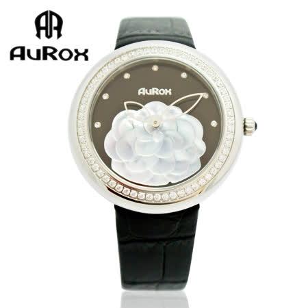 【好物分享】gohappy 線上快樂購AuRox歐銳時 山茶花貝殼浮雕不銹鋼石英鑽錶(AR1121-黑搪瓷)去哪買高雄 愛 買 吉安