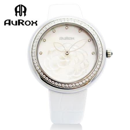 【私心大推】gohappy 線上快樂購AuRox歐銳時 山茶花貝殼浮雕不銹鋼石英鑽錶(AR1121-珍珠白)哪裡買sogo 太平洋