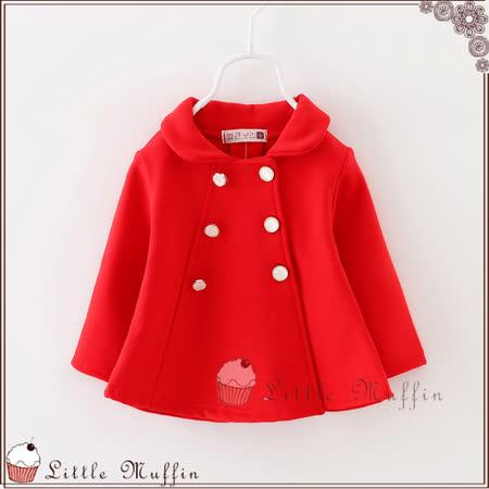 優雅女孩 雙排扣加絨立體剪裁短大衣外套 紅