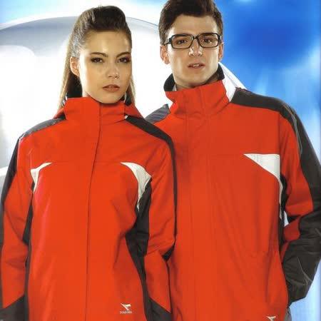 義大利 DIADORA中性版保暖二合一運動外套+雙面穿背心(桔紅/深灰)