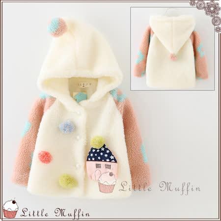 童話系 拼色毛絨軟綿綿連帽長袖保暖外套 白色