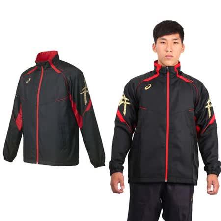 (男) ASICS 背部保暖風衣外套 - 立領 刷毛 防風 亞瑟士 黑紅金