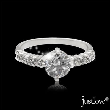 【justlove璀璨配飾】時尚經典款一克拉八心八箭晶鑽925純銀戒指贈禮盒(銀 RN-0057)
