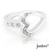 【justlove璀璨配飾】俏麗甜心奧地利晶鑽戒指贈禮盒RN-0073(銀 國際戒圍#12)