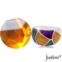 【justlove璀璨配飾】多彩幾何拼接琥珀開運純銀戒指贈禮盒(RN-1000)