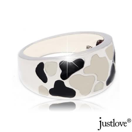 【justlove璀璨配飾】黑白乳牛斑紋琥珀純銀開運戒指贈禮盒 RN-1003-國際戒圍#12