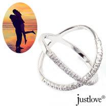 【justlove璀璨配飾】32顆晶鑽雙環雙戒圍纏綿交織女戒指男戒指(銀 RN-1015)