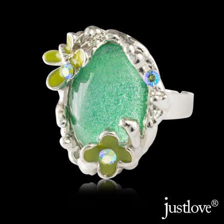 【justlove璀璨配飾】花蝶戀施華洛世奇晶鑽造型戒指可調戒圍贈禮盒(白)RN-1029