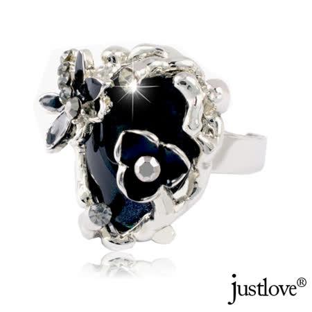 【justlove璀璨配飾】花蝶戀施華洛世奇晶鑽造型戒指可調戒圍贈禮盒(寶藍黑)RN-1030