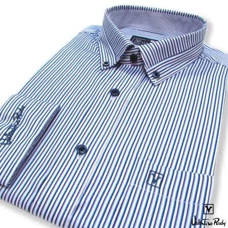 Valentino Rudy范倫鐵諾.路迪-修身版長袖襯衫-藍色直條-釘釦領