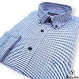 Valentino Rudy范倫鐵諾.路迪-修身版長袖襯衫-深藍直條-釘釦領