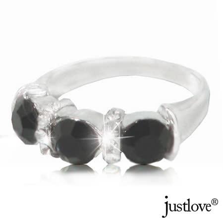 【justlove璀璨配飾】晶鑽黑色3顆開運贈禮盒男戒指女戒指(RN-1111-國際戒圍#13)