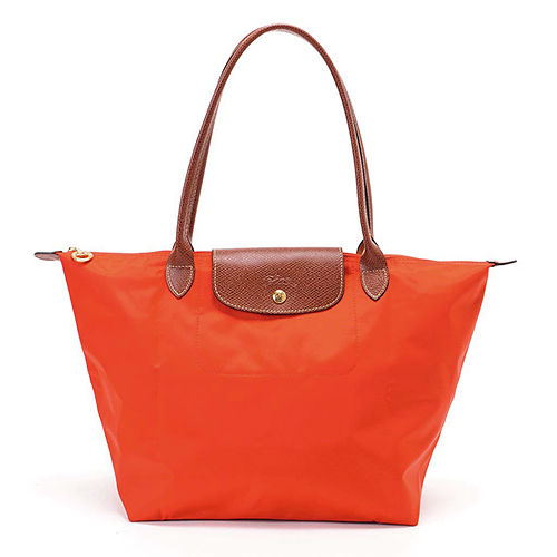 Longchamp 經典高彩度可摺疊水餃包_長把/中/橘色