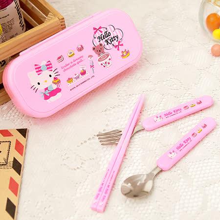 HELLO KITTY 筷子湯匙叉子三件式餐具組