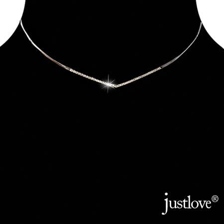 【justlove璀璨配飾】水晶鑽鋯石開運鎖骨鍊頸圈項圈頸鍊男女項鍊(銀)AB-0007